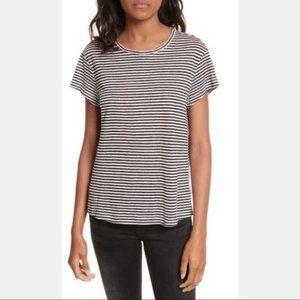 Frame Denim Classic Striped Linen Crewneck,Size S